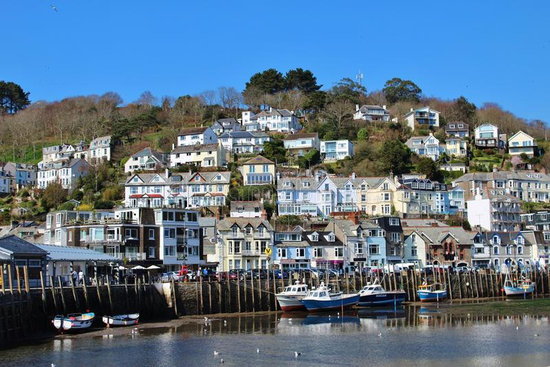 Looe village neaxt to River Looe, Cornwall, UK royalty free stock photos