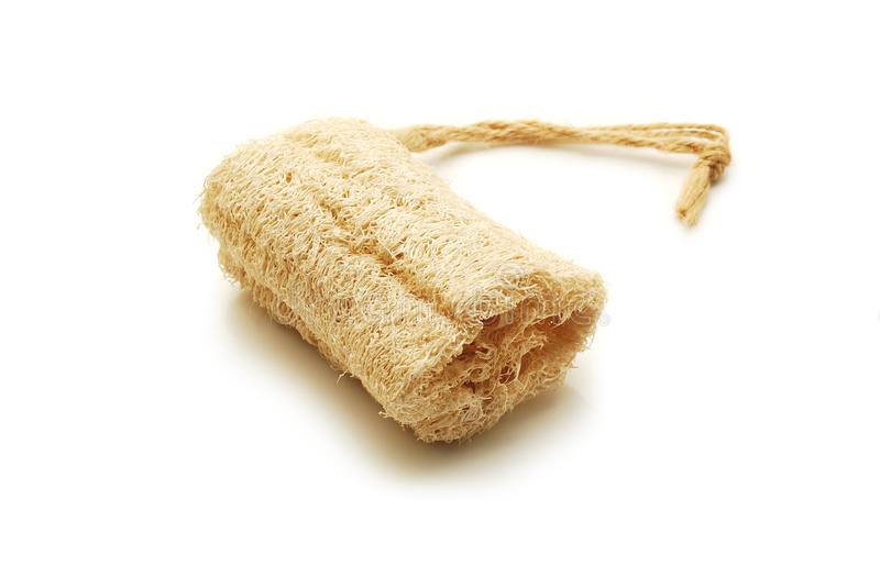 Loofah isolated. Loofah with string isolated on white royalty free stock photos