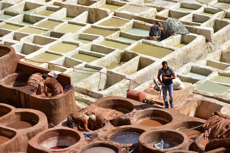 Looierij in Fes, Marokko stock fotografie