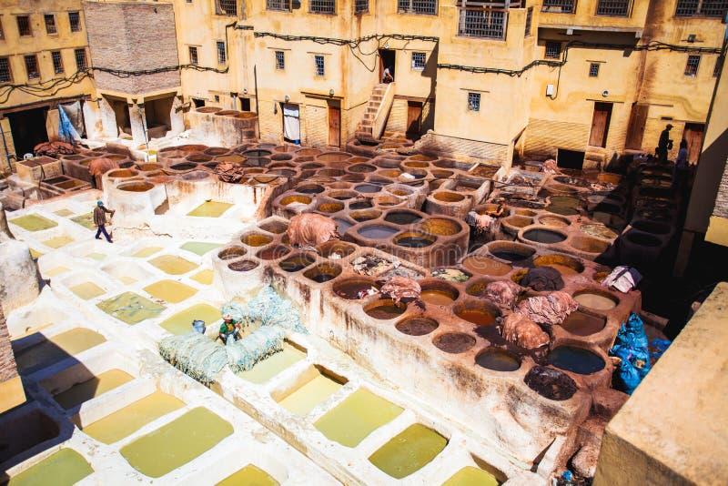 Looierijen van Fes de Oude tanks van Marokko, Afrika van Fez tannerie royalty-vrije stock afbeelding