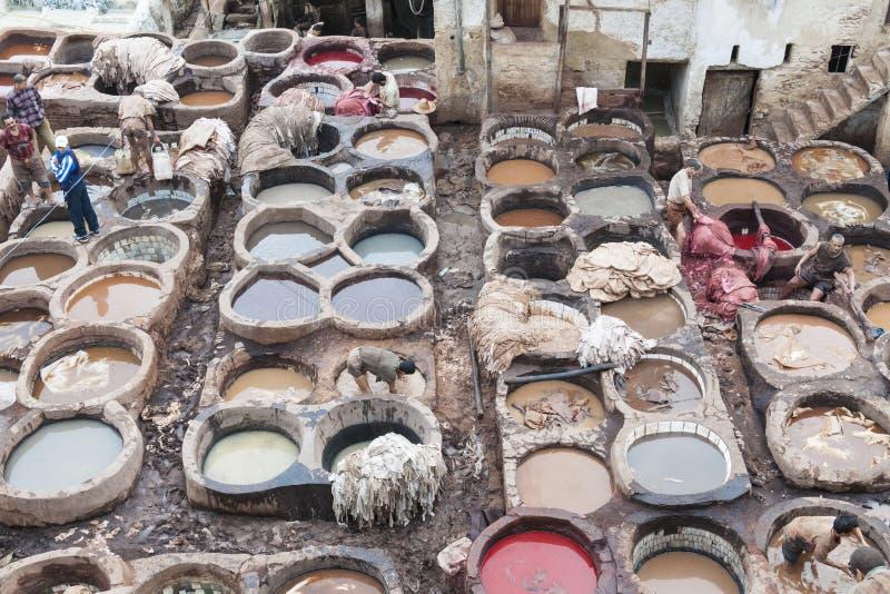 Looierijen van Fes, Marocco stock foto's