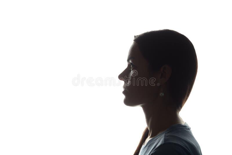 Look ahead de la mujer joven - silueta horizontal imagen de archivo libre de regalías