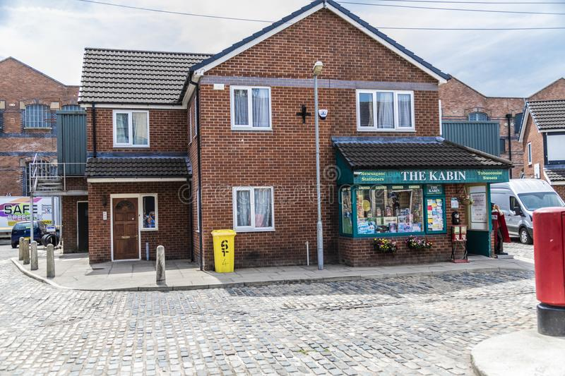 A look around the new working Coronation Street Set. This is the live working set used from 2018in the television series Coronation Street royalty free stock photo