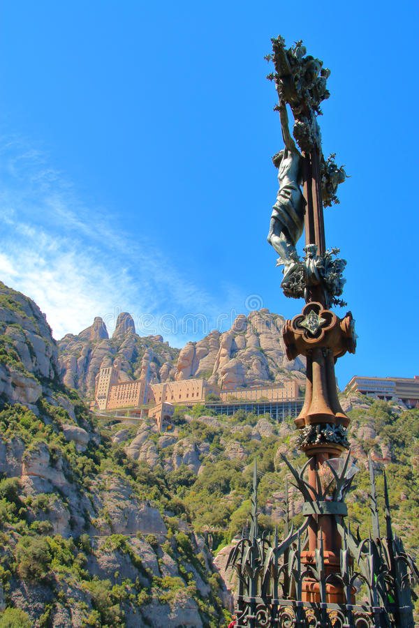 Look at the Benedictine monastery of Montserrat. The picture was taken in Spain on the mountain of Montserrat. The picture shows the Benedictine monastery. In royalty free stock photos