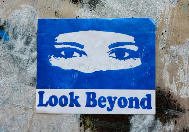 Look Beyond. Stereotypes, prejudice and perception of others. Look Beyond is a work of street art that challenges us to look beyond the stereotypes and stock photos