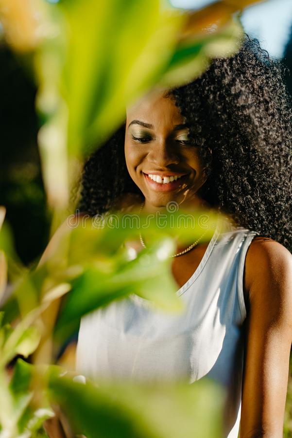 Look through blurred green plant leaves on the beautiful smiling african girl with green eye shadows and long curly hair royalty free stock photography