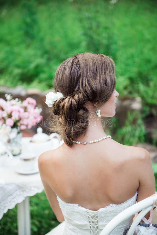 Back look of the bride hairstyle and shoulders stock photos