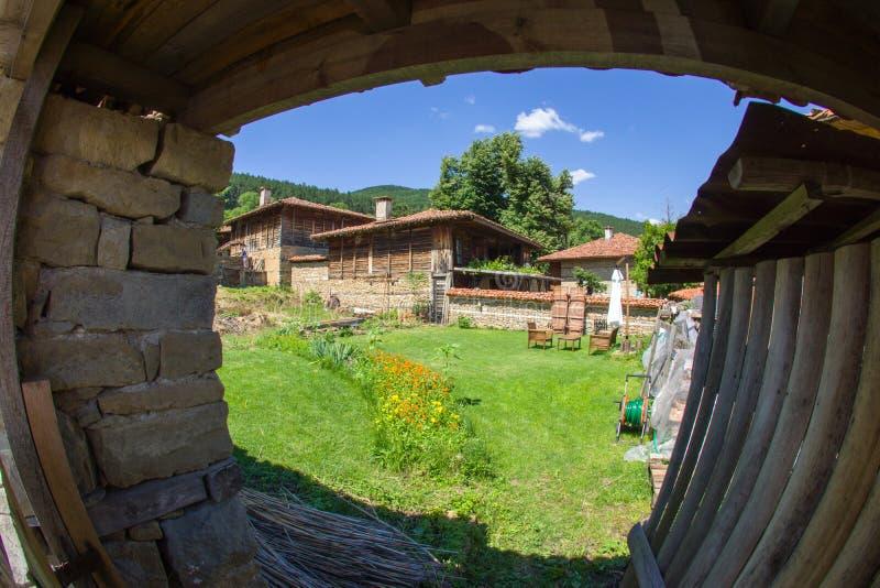 Look in Bulgarian rural yard stock image