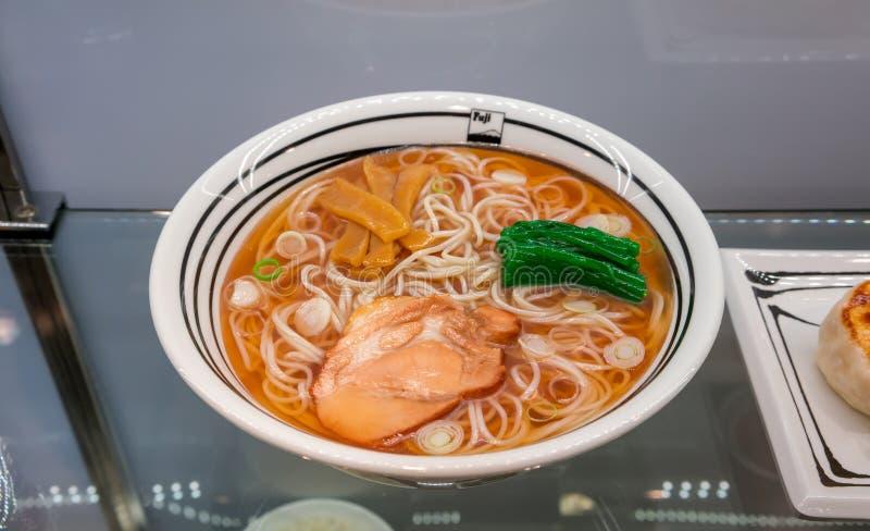 A look through cabinet mirror of Japanese ramen food model royalty free stock photos