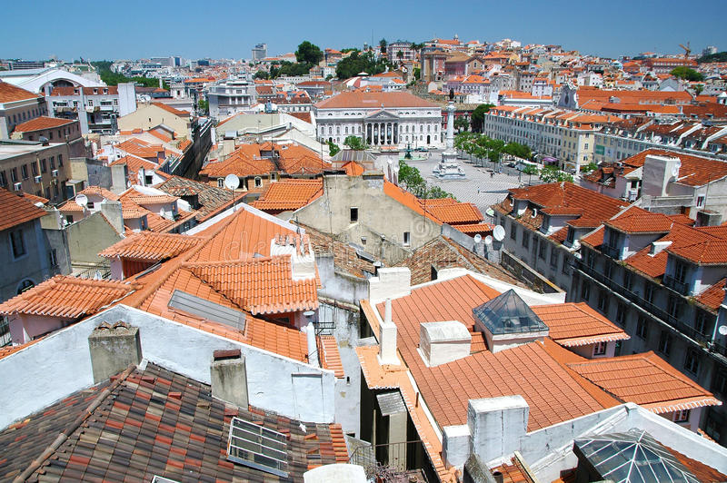 Look of the Castelo de Sao Jorge in the direction stock image