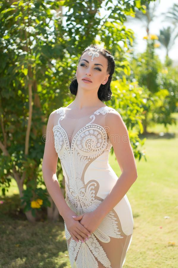 Look concept. Woman with glamour look in wedding dress. Look your best. For that feminine look you always wanted stock image