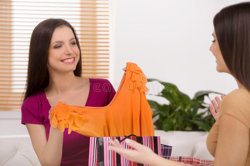 Look at this dress! royalty free stock photography