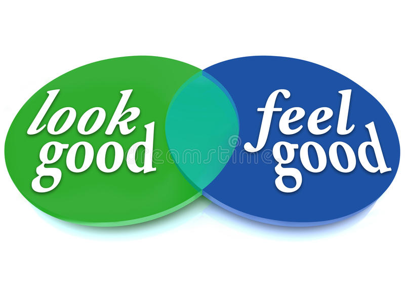 Look and Feel Good Venn Diagram Balance Appearance vs Health. A Venn diagram of overlapping circles with the words Look Good and Feel Good showing the vector illustration