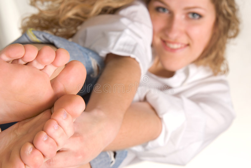 Look at feet royalty free stock photo