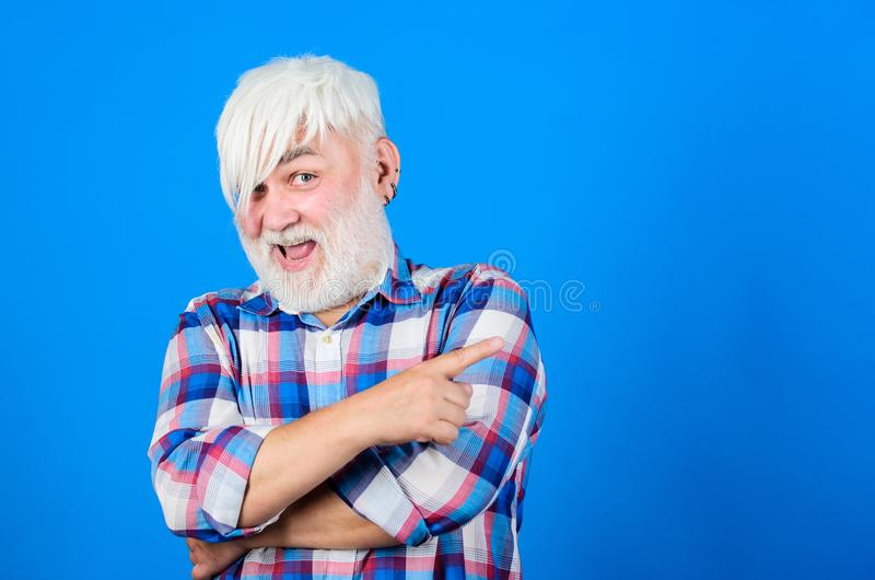 Look of Future. senior man with gray beard. grandfather on retirement. barber and hairdresser. male fashion. health care. Happy granpa. mature bearded man in royalty free stock image