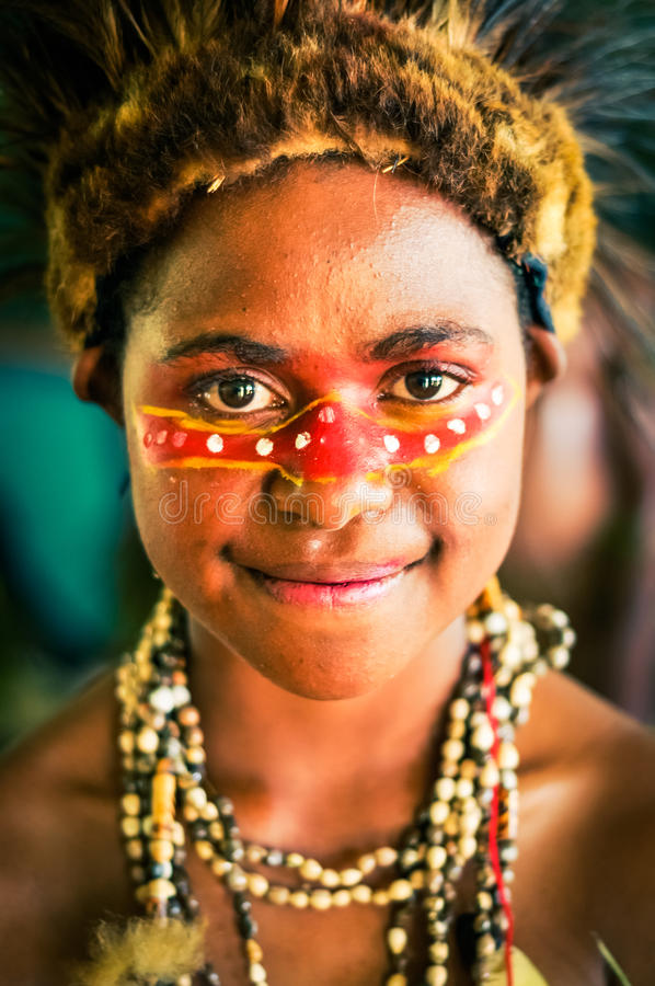Look of happy eyes in Papua New Guinea royalty free stock photography