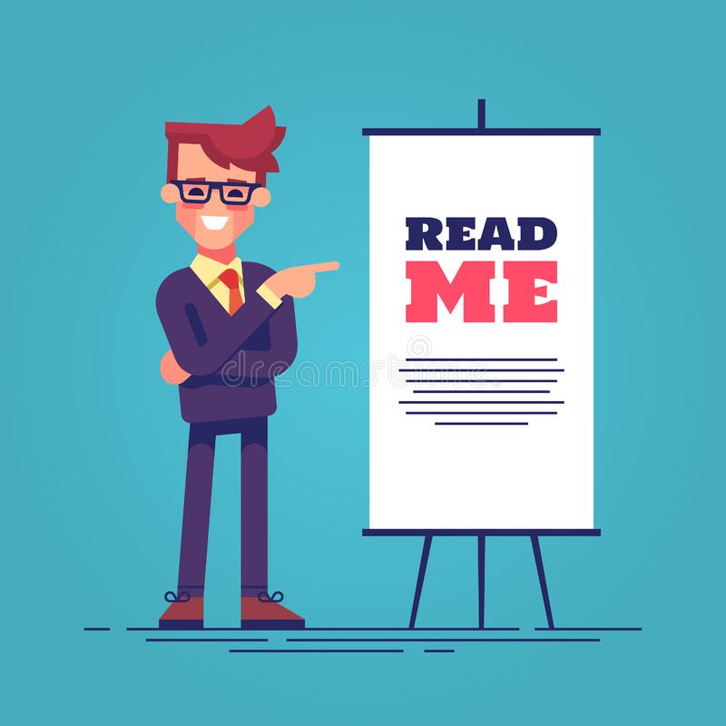 Look here! Happy young handsome businessman in suit pointing to the flipchart with the inscription read me. Vector. Look here! Happy young handsome businessman stock illustration