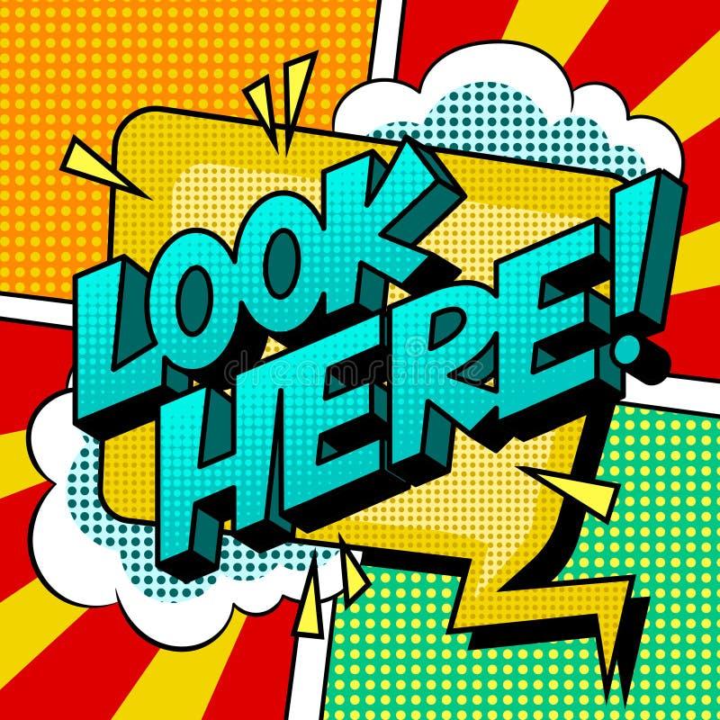 Look here word comic book pop art vector stock illustration
