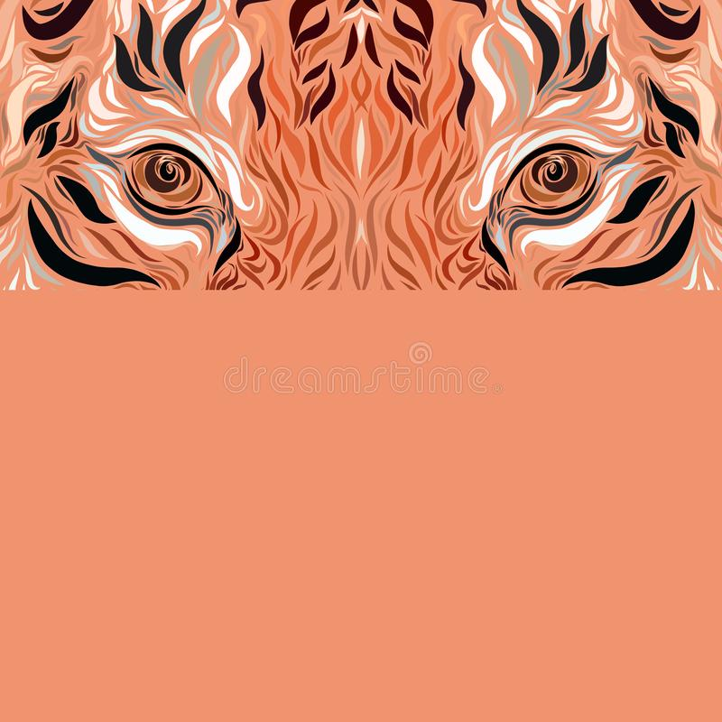 Look of a majestic tiger on an orange background.  vector illustration