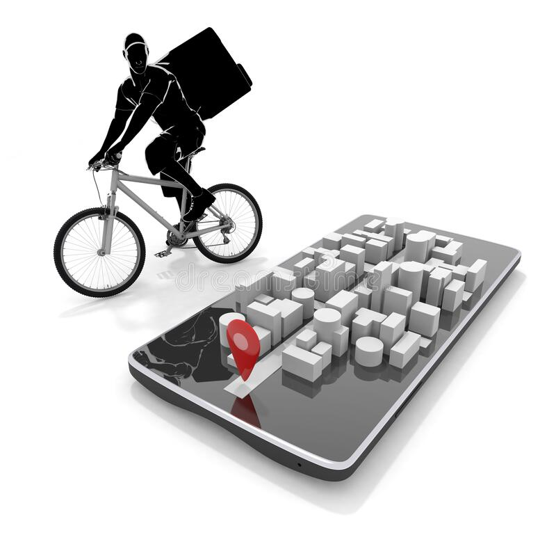 Look at the map app and deliver. Deliver food by bicycle. 3D illustration stock illustration