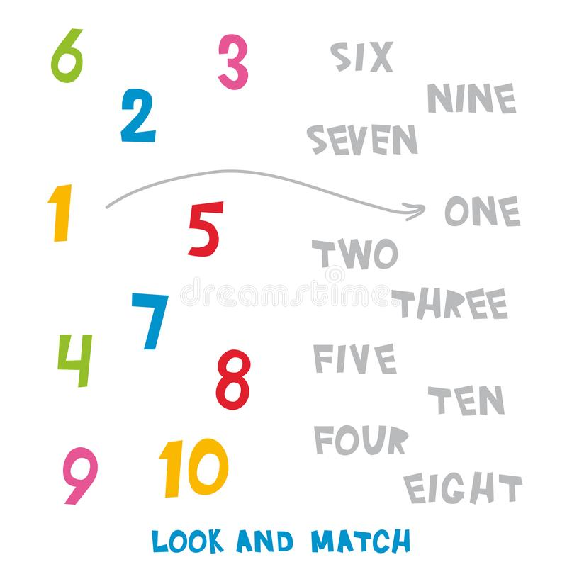 Look And Match The Numbers 1 To 10. Kids Words Learning Game ...