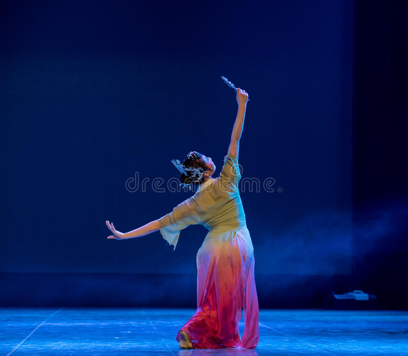 Look in the mirror-Rouged Lips-Chinese classical dance. Graduation performance of class5, grade 11, dancing department,Jiangxi Vocational Academy of Art on Dec30 royalty free stock image