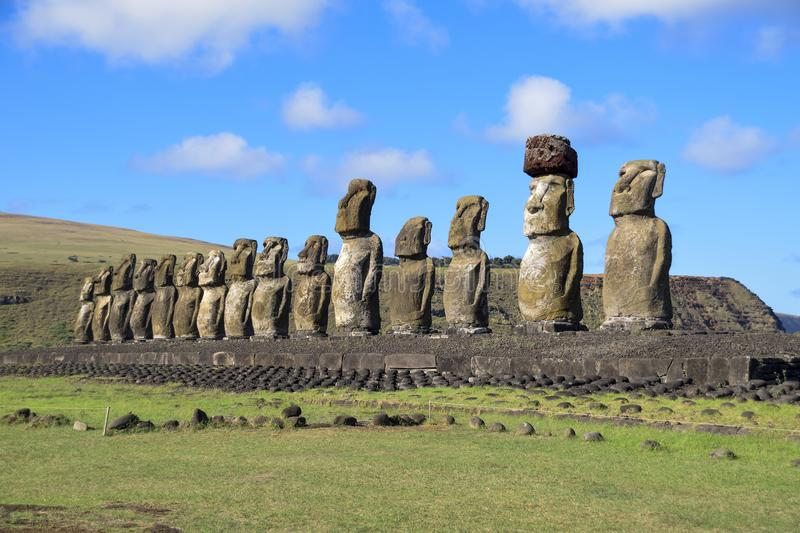 The look of the moais. These moais called Ahu Tongaraki, are the greatest beauty of Easter Island in Chile stock photography