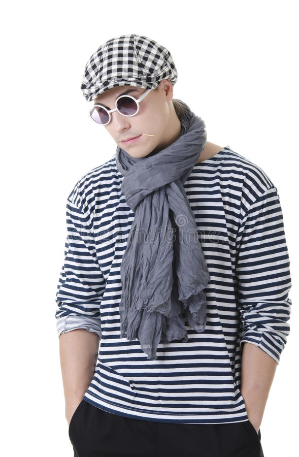 Look naughty and rowdy stylish young man stock photo