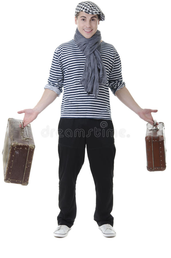 Look naughty stylish rowdy with suitcases stock photos