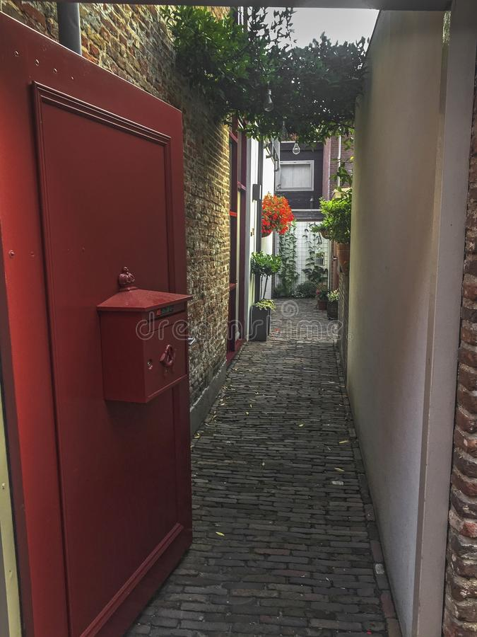 Look into an old Dutch alley stock photos