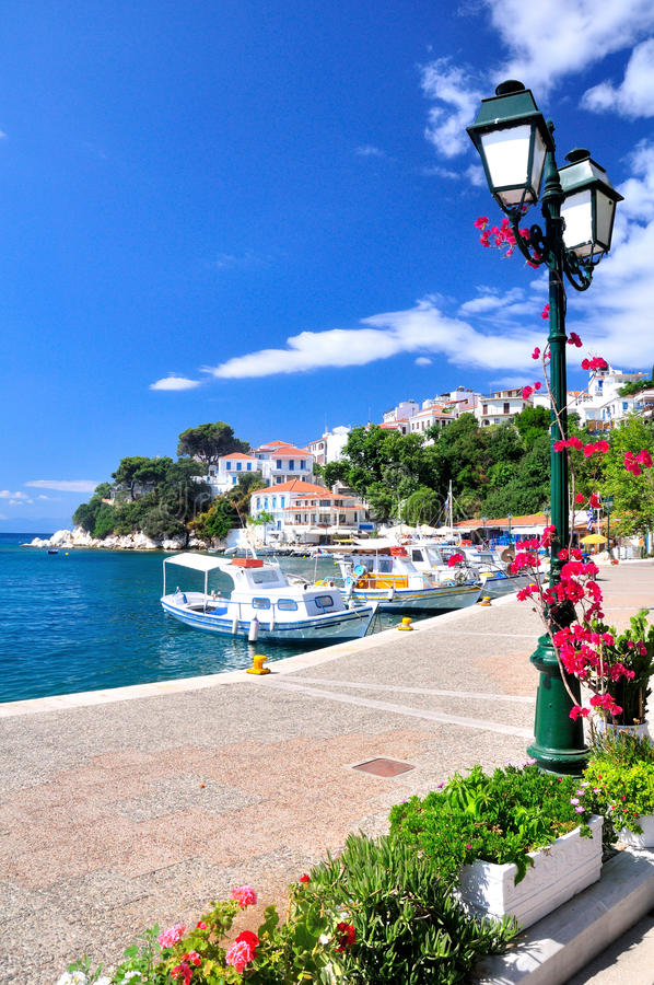 Download A Look On The Old Port In Skiathos, Greece, Europe Stock Image - Image of postcard, para: 39502513