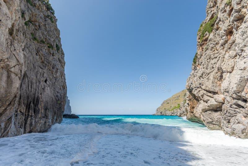 Beach of Torrent de Pareis in heavy waves royalty free stock photos