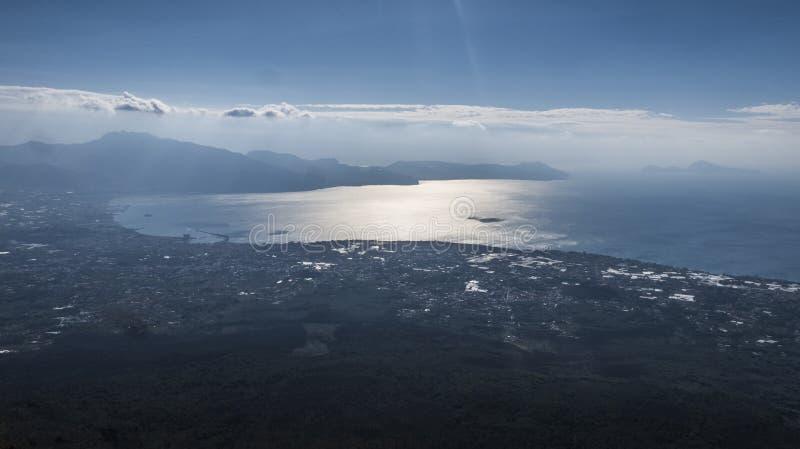 Look over Sorrento Bay & Napoli Bay from Vesuvius royalty free stock photo