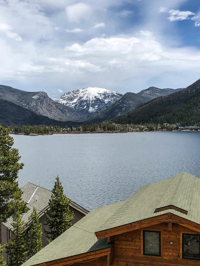 Gorgeous snowy mountain and lake view in Colorado stock image