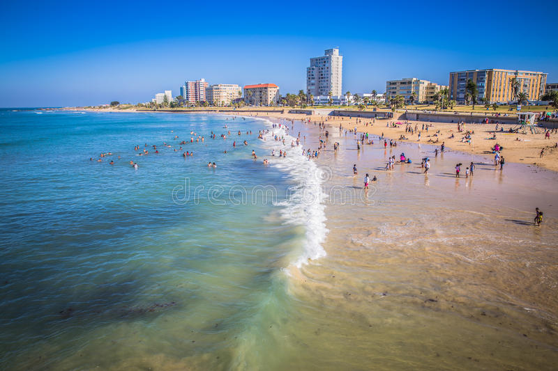 Look at the people on the beach waterfront of Port Elizabeth royalty free stock photography