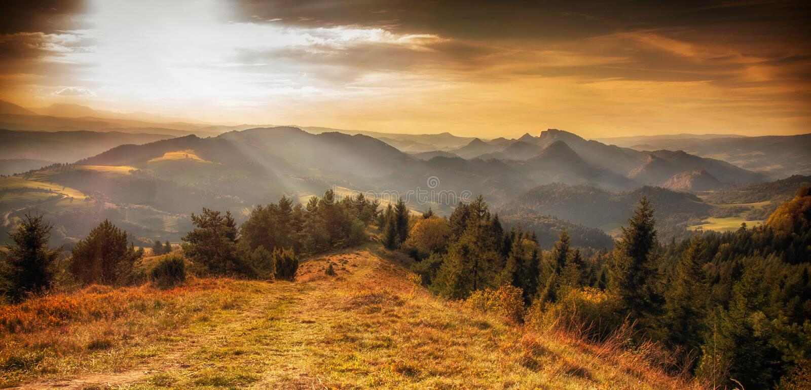 A look at the Pieniny Mountains. View of the Pieniny Mountains at sunset, Poland royalty free stock photo