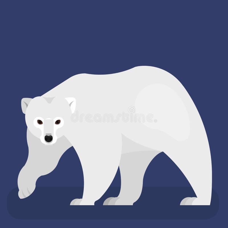 Look polar Predador selvagem grande com uma pele branca ilustração do vetor