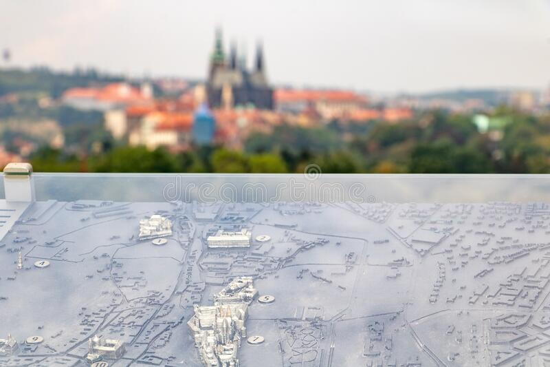 A look at a Prague castle from a lookout tower with a Prague city plan. Czech republic royalty free stock photo