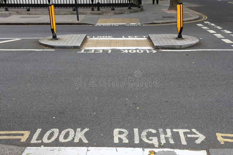 Look right London. London pedestrian signs - look right and look left. Traffic warning royalty free stock photos