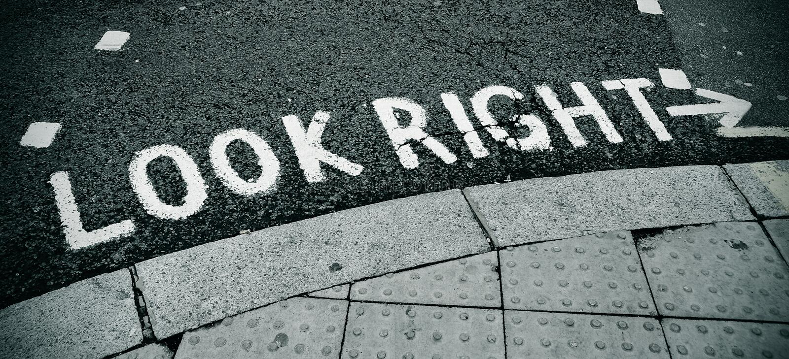 Download Look right sign stock photo. Image of pavement, notice - 19478082