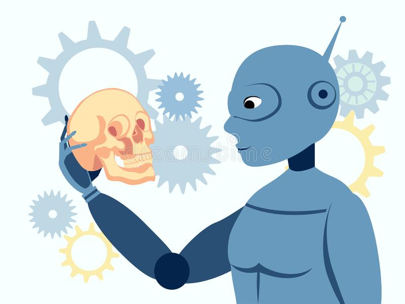 Look, the robot is holding a human skull. Flat in minimalist style. Cartoon vector vector illustration