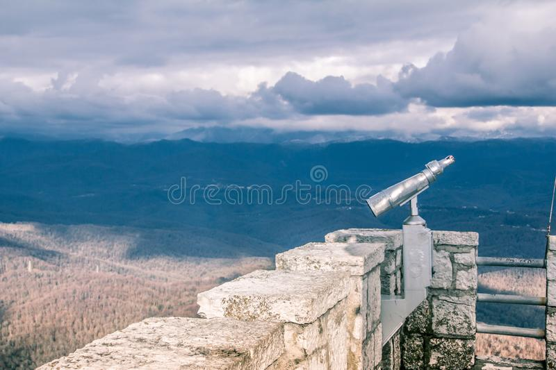 Look at the sky - look how the clouds float. The mountains are covered with clouds. Fascinating horizon. Nature you beautiful. View from mount Ahun stock photo