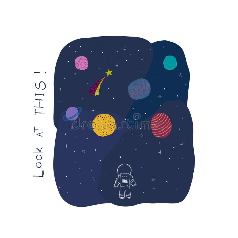 Look at this Space Planet Star card. Look at this card Universe Space travel Planet Star moon astronaut cosmos astronomy inspiration graphic design typography stock illustration