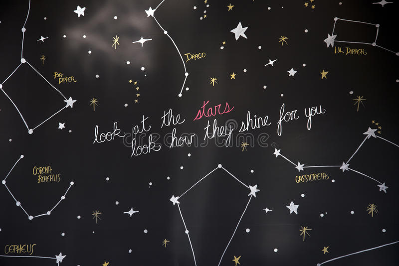 Look at stars constellation how they shine for you stock photos