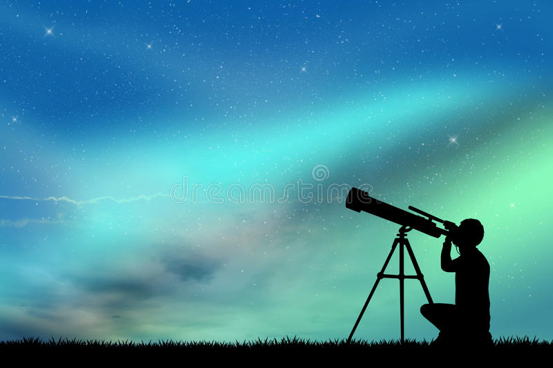 Look in the telescope vector illustration