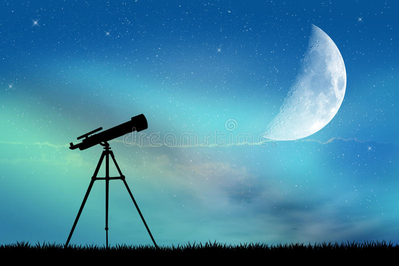 Look in the telescope. In the night royalty free illustration