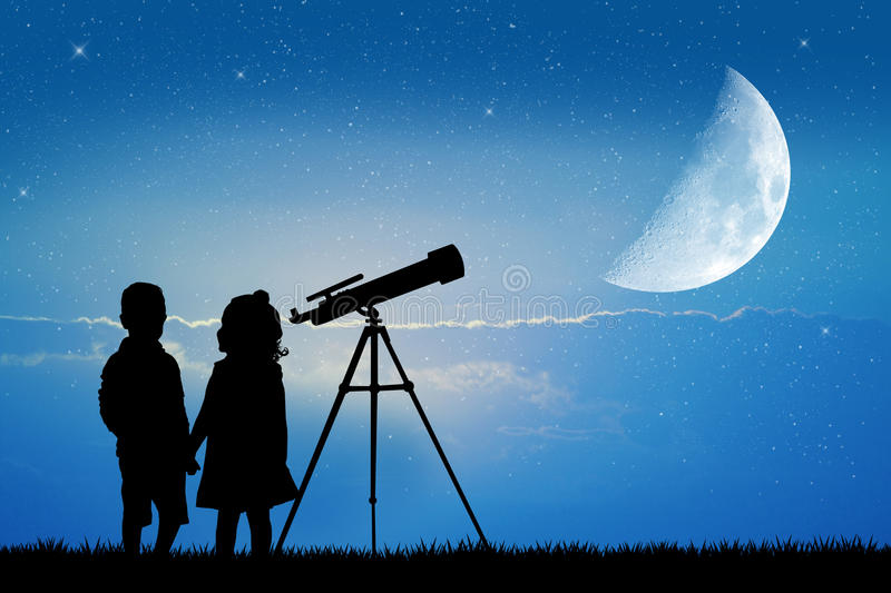 Look in the telescope. In the night vector illustration
