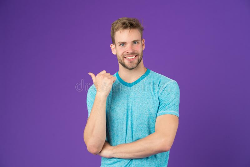 Look there. Masculinity concept. Man with strong muscular arms. Does having muscular body make you more confident. Man stock photography