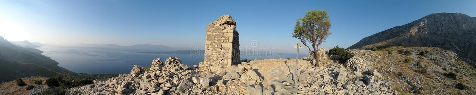 Look to Adriatic sea from Sv. Petar - ruins of little chapel - above Zivogosce in Croatia. Look to Adriatic sea from Sv. Petar - ruins of little chapel - above royalty free stock photos