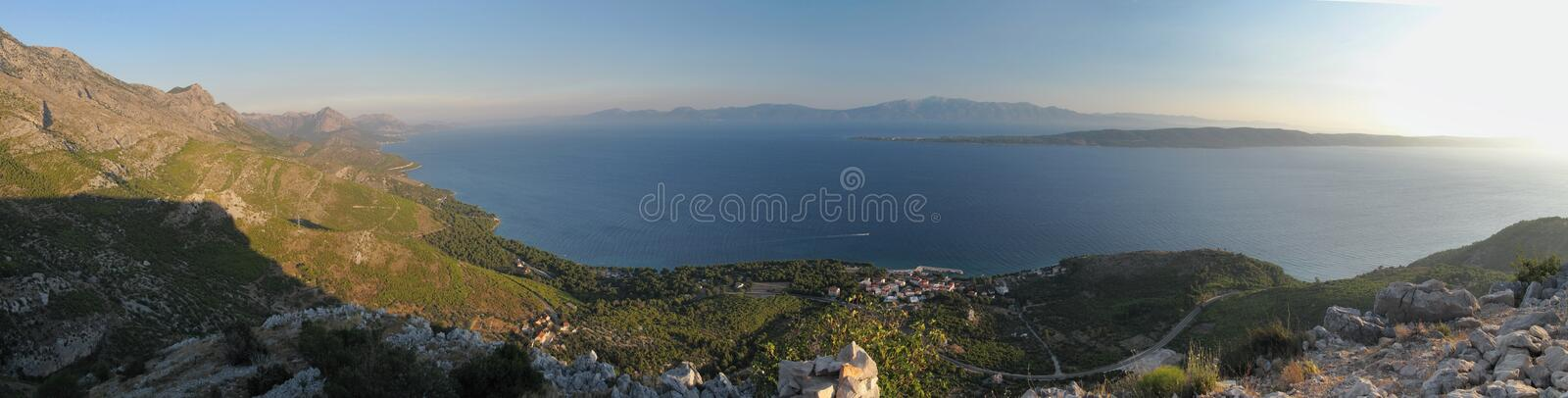 Look to Adriatic sea from Sv. Petar - ruins of little chapel - above Zivogosce in Croatia. Look to Adriatic sea from Sv. Petar - ruins of little chapel - above stock photo